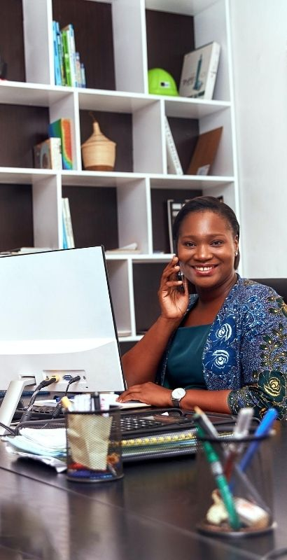 smiling African business woman